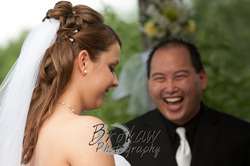 Outdoor Wedding Ceremony at Riverview Country Club performed by Reverend Marc Pun